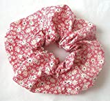 Red Blossoms On White Print Cotton Scrunchy Large