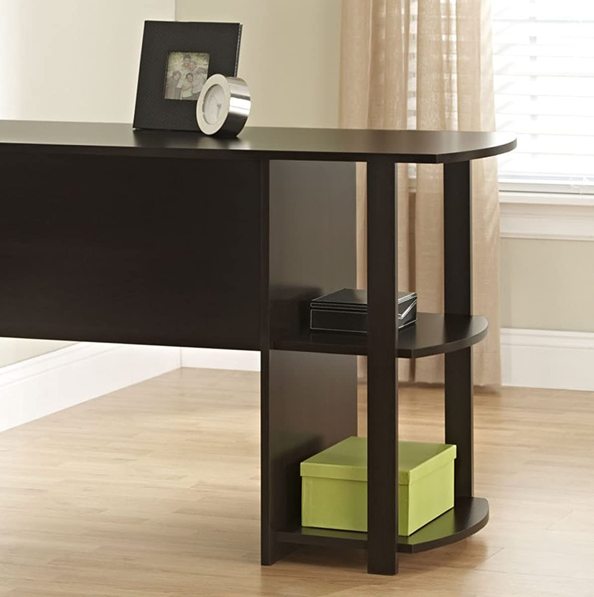 Ameriwood Home Dakota L-Shaped Desk with Bookshelves, Espresso