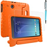 Protective Case Compatible Samsung Galaxy Tab E 9.6 SM-T560 SM-T561 with Screen Protector and Stylus, AFUNTA Anti-Scratch Convertible Handle Stand EVA Case for Tablet 9.6 Inch - Orange (Color: Orange)