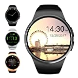 Evershop Bluetooth Smart Watch 1.5 inches IPS Round Touch Screen Water Resistant Smartwatch Phone with SIM Card Slot, Sleep Monitor, Heart Rate Monitor and Pedometer for IOS and Android Device (Black) (Color: Black)