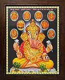 Lord Ganesha / God Ganesh / Ganpati with Ashtavinayak Swaroop (8 Ganesha Swaroop) Poster with Frame (Size: 8.5x11 inch)