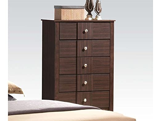 Racie Contemporary Five Drawer Chest with Decorative Hardware in Dark Merlot by Acme Furniture