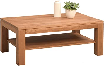 HomeTrends4You 267423 Couchtisch, 105 x 42 x 65 cm, Wildeiche massiv geburstet, geölt