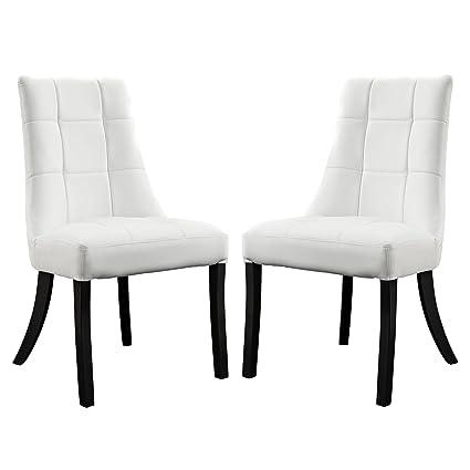 Noblesse Vinyl Dining Chair Set of 2 - White