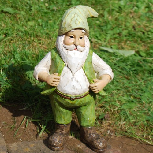 Gnorris or Gned the Wooden Look Resin Garden Gnome Ornament - Two Designs Available (Gnorris Holding Waistcoat)