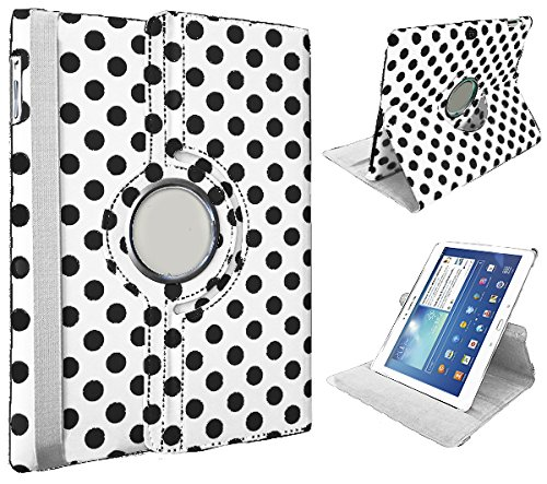 """Xtra-Funky Exclusive Samsung Galaxy Tab S, 10.5"""" (T800) Polka Dot Spots Pu Leather 360° Degree Rotating Stand Smart Case With Auto Wake / Sleep Function Includes A Soft Tipped Stylus & Screen Protector - Polka White"""