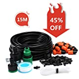 AGSIVO Patio Spray Misters Watering System Kits Accessories for Outdoor Garden Greenhouse Nozzles Misting Cooling with 49.2ft, 4/7 Blank Distribution Tubing Hose (Color: 15M Misting System Kit)