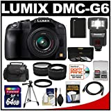Panasonic Lumix DMC-G6 Micro Four Thirds Digital Camera with G Vario 14-42mm Lens (Black) with 64GB Card + Battery + Case + Tripod + 3 UV/ND8/PL Filters + Flash/Video Light + Tele & Wide Lenses + Accessory Kit
