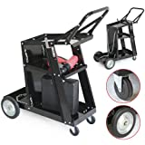 3-Tier Welding Cart MIG Welder Welding Cart Universal W/Tank Storage Black