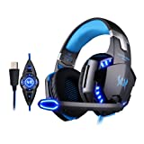 Gaming Headset, 7.1 Surround Sound Vibration Gaming Headphones with Microphone, Noise Canceling LED Light for PC Computer Laptop