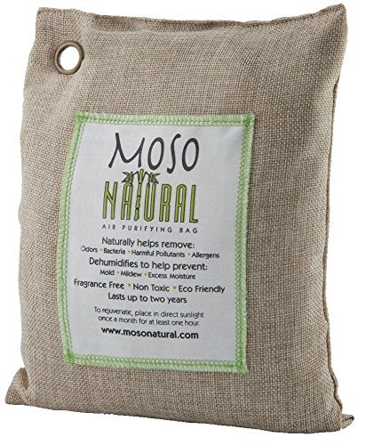 Moso Natural Air Purifying Bag 500g Natural Color Naturally Removes Odors, Allergens and Harmful Pollutants. Prevents Mold, Mildew And Bacteria From Forming By Absorbing Excess Moisture. Fragrance Free, Chemical Free And Non Toxic. Reuse For Up To Two Years.