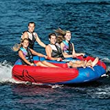 HO Sports Delta4 Boat Towable Delta Wing Design 4 Person Staggered Seating Tube, Pump and... by HO Sports