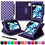 roocase Kindle Fire HD 7 2014 Case, new Kindle Fire HD 7 Dual View Folio Case with Sleep / Wake Smart Cover with Multi-Viewing Stand for All-New 2014 Fire HD 7 Tablet (4th Generation), Polkadot Purple