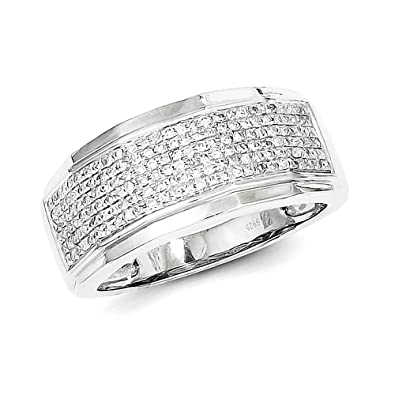 Sterling Silver Diamond Men Band Ring