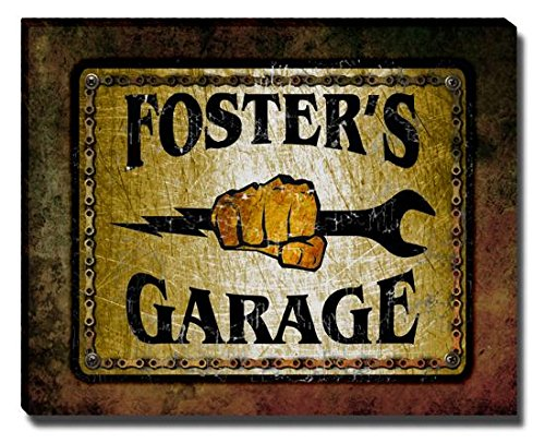 fosters-garage-stretched-canvas-print