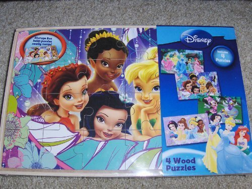 Disney 4 Wood Puzzle Set Princesses, Tinkerbell, Minnie Mouse Puzzles - 1