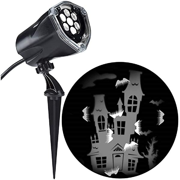 Halloween White LED Haunted House 2 in 1 Light Projector Lamp, 5 Inch (Color: White, Tamaño: 5 inch)