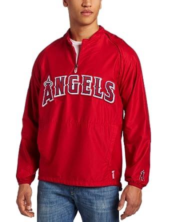 MLB Los Angeles Angels 1 4 Zip V-Neck Gamer Jacket by Majestic