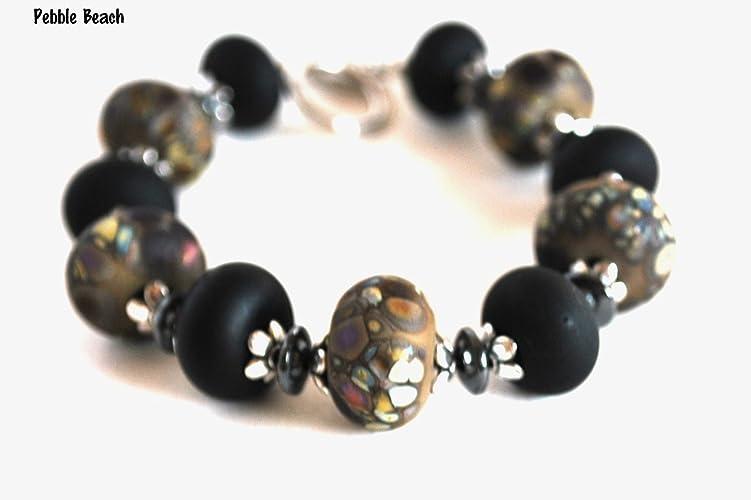 Silvertone Bracelet Brown and Black Lampwork Bead Handmade