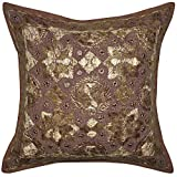 Indian Handmade Silk Embroidery Work Design Mirror Work Cotton Single Cushion Cover 16x16 Inches Mother's Day...