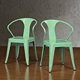 Set of 4 Mint Green Metal Chairs in Glossy Powder Coated Finish Steel Stackable Dining