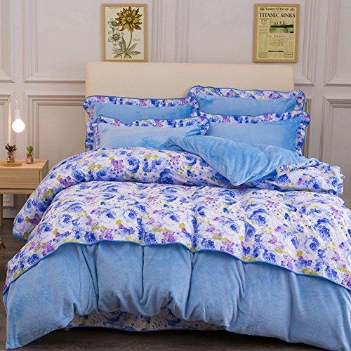 Stile coreano Acetato Piante e fiori Set di biancheria da letto(1Copripiumino 1Lenzuola 2Cuscino)-B King