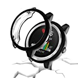 Garmin vivoactive 3 Protector Case,JZK Soft TPU Plated Screen Protector Cover All-Around Protective Screen Cover Bumper Shell [Scratch-Proof] for Garmin vivoactive 3 Smartwatch Accessories,Black (Color: Black)