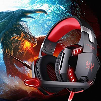 VersionTech Stereo 7.1 Surround Pro USB Gaming Headset PC Headset Headphones with Microphone,Cool LED Lights,Super Vibration for Pro Gamer