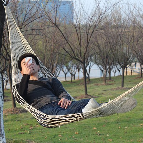 7ft Nylon Hammock - Portable and Easy to Set Up - Holds up to 220LBs