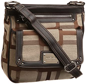 Nine West Vegas Signs Cross Body,Khaki  Dark Brown,One Size