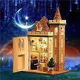 SICA DIY Wooden LED Light Assembled Doll House Moonlight Castle Miniature Kit Gift