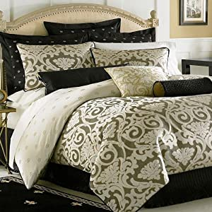 Waterford pomona king comforter black creme fleur de lis bedding - Fleur de lis bed sheets ...