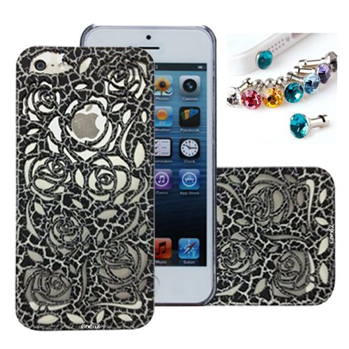 =>>  Cocoz® New Releases Romantic Black Roses Carved Palace Fashion Design Hard Case Cover Skin Protector for Iphone 5 At&t Sprint Verizon Retail Packing(pc) -H001