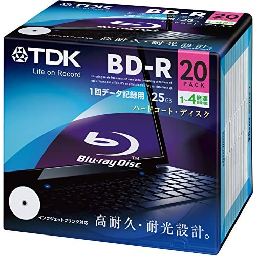 TDK データ用ブルーレイディスク BD-R 25GB 1-4倍速 ホワイトワイドプリンタブル 20枚 5mmスリムケース BRD25PWB20A