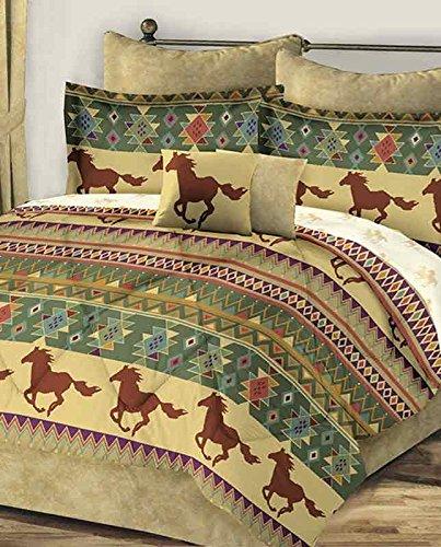 Western Horses Southwest Aztec Brown Gold Queen Comforter Set (8 Piece Bed In A Bag)