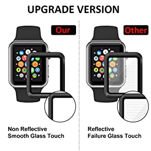 [2 - Pack] for Apple Watch Screen Protector 38mm, Tempered Glass Screen Protector, Anti-Scratch Resistant Full Coverage Scratch-Proof Screen Film Compatible Watch 38mm Series 1/2/3 (Color: Black 38mm, Tamaño: 38 mm)