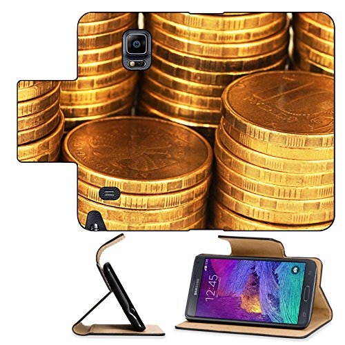 Luxlady Premium Samsung Galaxy Note 4 Flip Pu Leather Wallet Case Gold money stack close up Business concept IMAGE 35646397