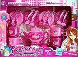 Juego de Te con Tetera. 13 piezas. En color rosa y fucsia. Medida de la caja: 43x21x6 cms.