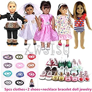 ZWSISU Super Value 5-Piece Clothes Set with 2 Pairs Shoes and Necklace for 18-Inch American Girl Doll