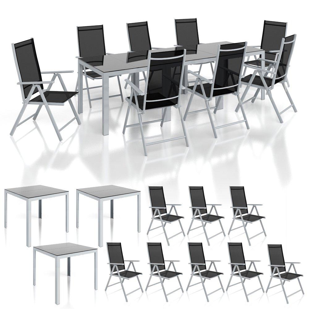 Alu Sitzgarnitur Gartenmöbel Set 11-teilig Garnitur Sitzgruppe 3 Tische 8 Klappstühle günstig kaufen