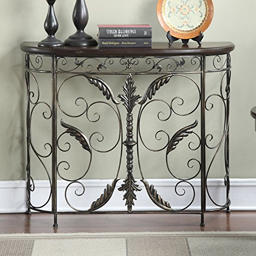 Convenience Concepts Wyoming Console Table, Black Antiqued (Console Table With Metal compare prices)
