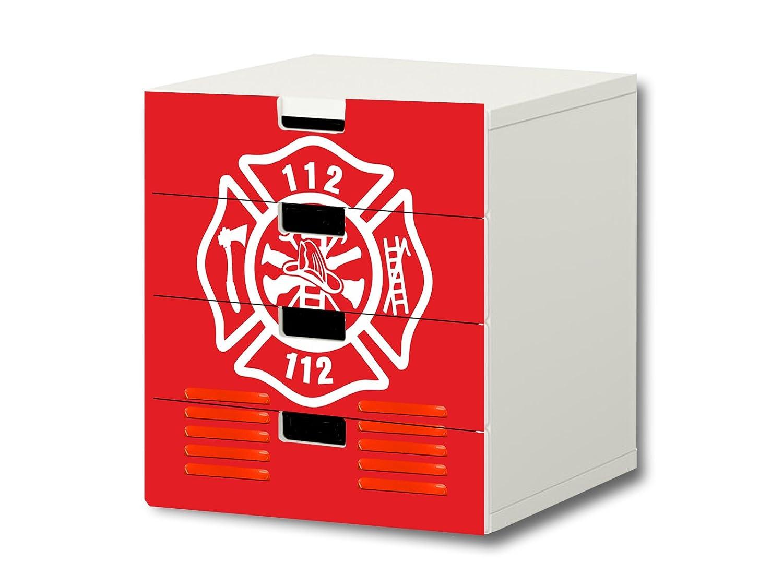 """""""Feuerwehr"""" Möbelsticker / Aufkleber – S4K21 – passend für die Kinderzimmer Kommode mit 4 Fächern / Schubladen STUVA von IKEA – Bestehend aus 4 passgenauen Möbelfolien (Möbel nicht inklusive) günstig online kaufen"""