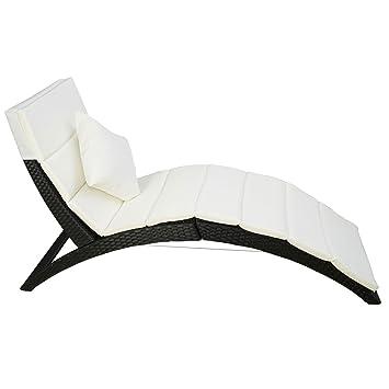 polyrattan gartenliege sonnenliege gartenm bel mit kissen bis 180 kg belastbar zusammenklappbar. Black Bedroom Furniture Sets. Home Design Ideas