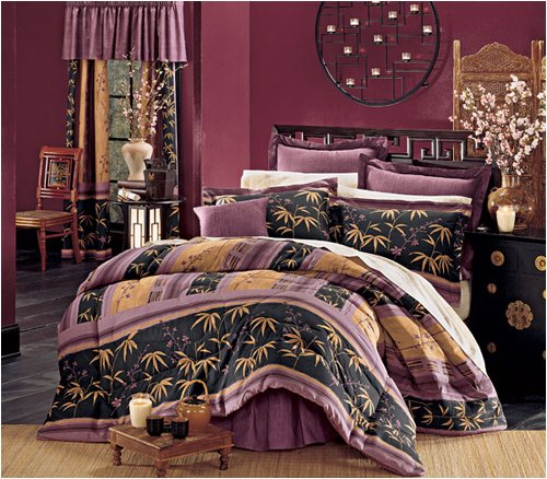 Asian Bedding & Decor - Japanese Design Plum Blossom & Bamboo Bed in a Bag Set ( Parent )