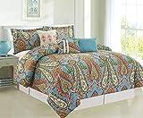 COMPASS Mystic 6 Piece Luxurious Comforter Set, Queen, Multicolor