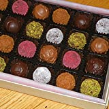 Ilze's Chocolat gift box of 24 Mixed Truffles - Champagne, Cointreau, Rock Salt Caramel, Cerise, Amaretti and Almond, Pistachio