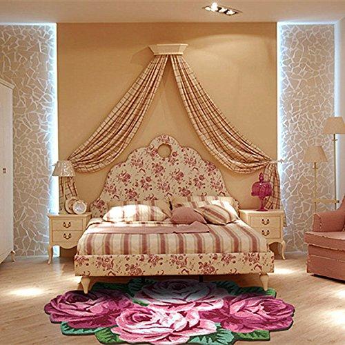 Ustide 4 Rose Floor Rug Red Handmade Bathmat Floral Rug Girls Bedroom Rugs Washable Non-Slip Floor Carpets