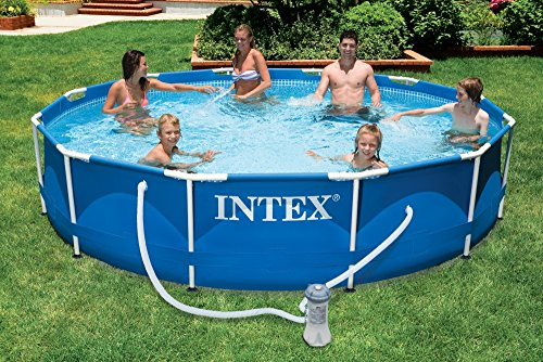 intex aufstellpool frame pool set rondo blau 366 x 76. Black Bedroom Furniture Sets. Home Design Ideas