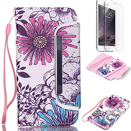 iPhone 6 6S Plus 5.5 inch Wallet Case,Nancy's shop Premium Ultra Slim Hybrid Series Scratch Proof Shock Absorbing PU Leather Flip Cover Folio with Foldable Stand Magnetic Card Holder Bumper (Purple)