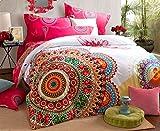 Luk Oil Home Textile Modern Retro Design Upgrade Brushed 100% Cotton 4 Piece Bedding Set Fashion Colorful Boho Style Duvet Covers Elegant Bohemian Flounce Design Bed Sheets Queen Size